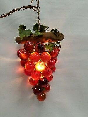VTG Retro Acrylic Lucite Amber Grape cluster driftwood swag hanging lamp light