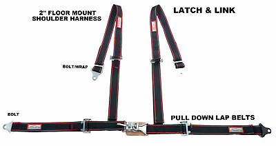 "2"" Off Road 4 Point Seat Belt Latch & Link Floor Mount Black Red Pin Stripes"