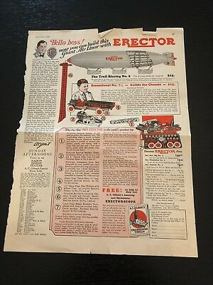 1929 Old Magazine Print Ad, Erector Set, Builds Giant Zeppelin!