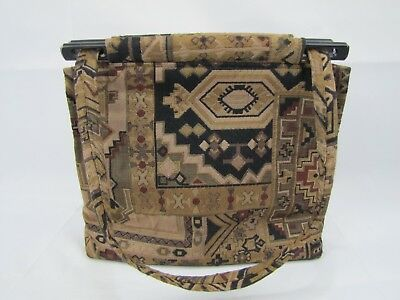 Toby Weston Bag Purse Tapestry Brown Western Native Vintage Woodland Hills Ca