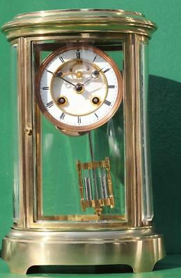 Antique  French Oval 8 Day Open Escapement Four Glass  Mantle Clock