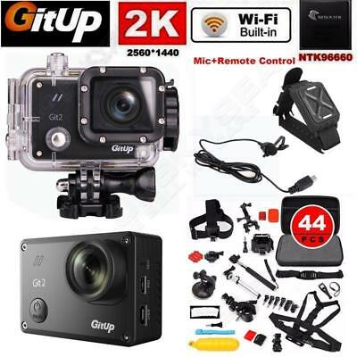 Gitup Git2 16M 2K Pro Sports Action Helmet Camera +Mic+Remote+44in1 Accessories