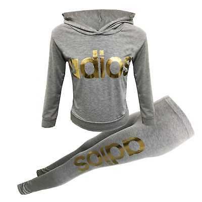 Girls Adios Gold Print Tracksuit Outfit Leggings Top Grey Age 7 8 9 10 11 12 13