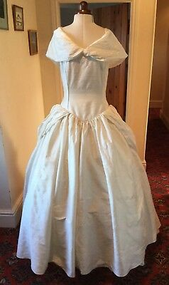 VINTAGE 1980's VICTORIAN STYLE IVORY SILK WEDDING DRESS BY CAMEO BRIDE