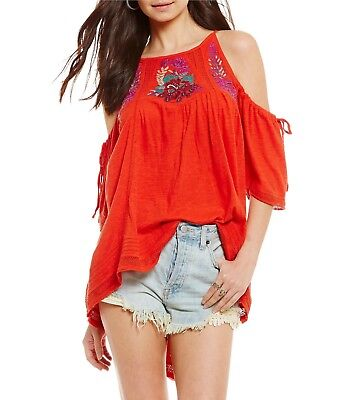 6f0c907d8ff31 NEW FREE PEOPLE Women s Red Fast Times Embroidered Cold Shoulder Peasant Top  M