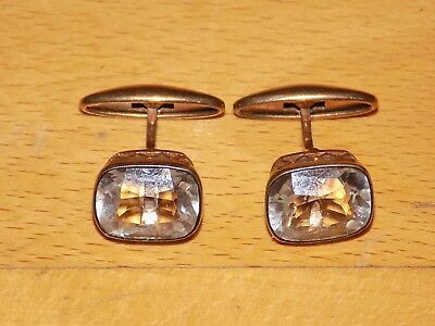 USSR Ancient Silver 875 Gold Plated Cufflinks with Rhinestone