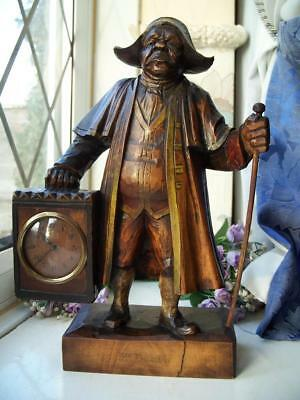 SUPERB LARGE ANTIQUE BLACK FOREST CARVED CHARLES DICKENS Mr BUMBLE CLOCK TREEN