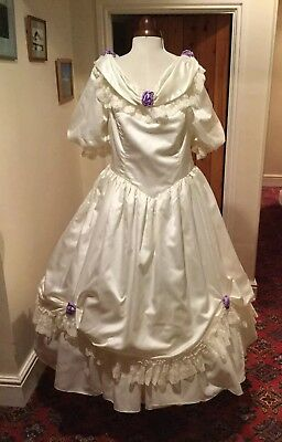 VINTAGE 1980's VICTORIAN  'CINDERELLA' STYLE  IVORY SATIN & NYLON WEDDING DRESS