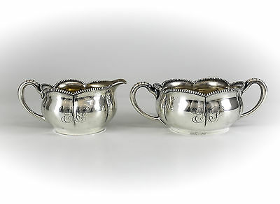 2pc Towle Sterling Silver Cream & Sugar Set Beaded Rim, c1920