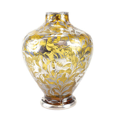 American Sterling Silver Overlay Amber Glass Vase, circa 1920. Floral Accents
