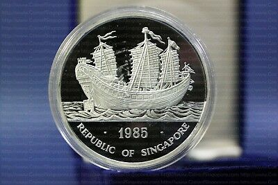 "1985 Singapore 5 Oz Silver Double Dragon ""keying"" Junk Ship 500 Minted"