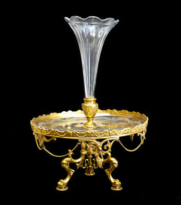 Gilt Bronze Ormulu & Cut & Etched Glass Epergne Fluted Vase, Late 19th Century