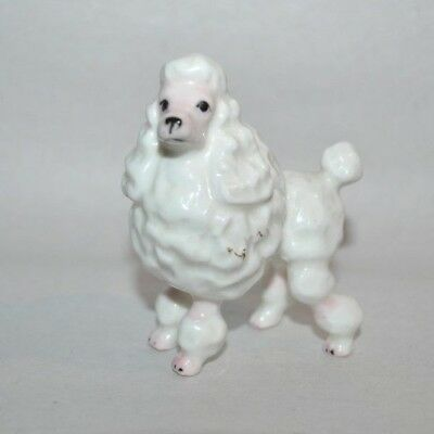 "VTG POODLE DOG Miniature Figurine  White Pink Porcelain Glazed Japan 2.4""H"
