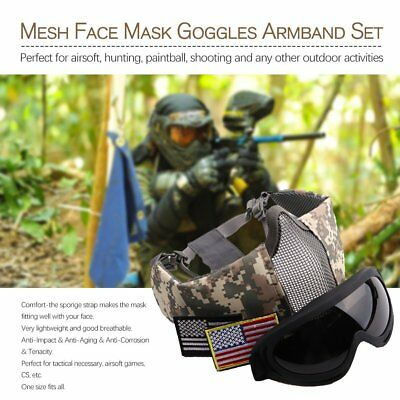 1 Set Airsoft Tactical Paintball Half Face Steel Mesh Mask Goggles Equipment W0