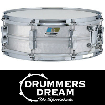 """Ludwig Acrolite 14"""" x 5"""" Hammered Aluminum Snare Drum With Chrome Hardware"""