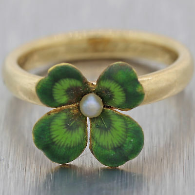 1910 Victorian 14K Yellow Gold Four Leaf Clover Irish Ring Seed Pearl N8