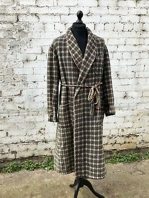 Vintage 50's 60's Gents Plaid Wool Dressing Gown Smoking Jacket Robe UK L/XL