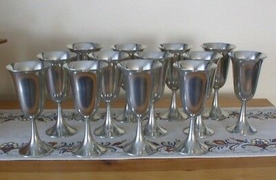 Lot of 13 pewter goblets glasses, made in HOLLAND