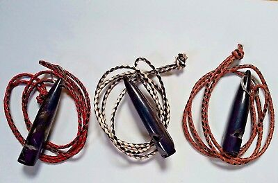 DOG WHISTLE in BLACK BUFFALO HORN +3mm BRAIDED LEATHER LANYARD ObedienceTraining