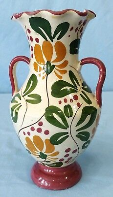 Vintage Hand Painted Ceramic Vase Italy Two Handled