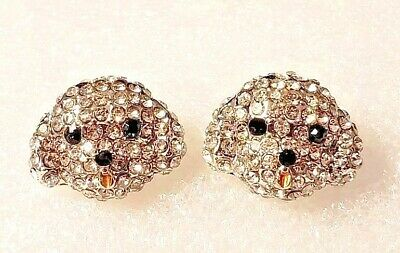Bichon Frise Dog Crystal Covered Post Stud Earrings Jewelry