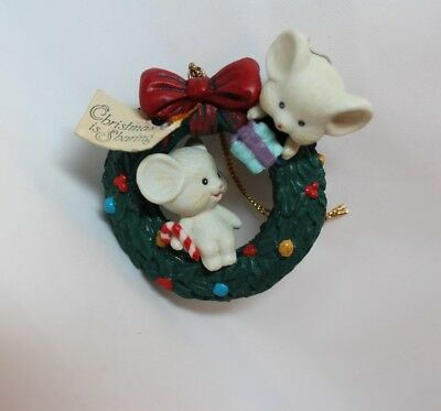Lustre Fame 1992 Ornament 2 Mice on Wreath Christmas is Sharing Candy Cane Gift