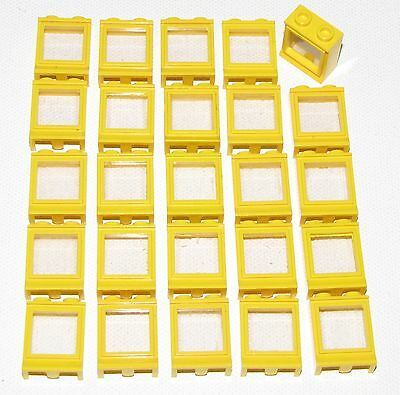Lego Lot Of 25 Yellow 1 X 2 X 2 Town City Windows With Fixed Glass Parts