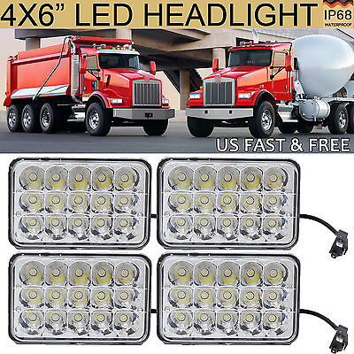 "4X6"" LED Headlight Bulb Pack-4 for Kenworth T800 T400 T600 W900L Classic 120/132"