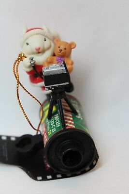 Lustre Fame 1997 Ornament Santa Mouse Taking an old time Selfie w/toy Bear Film