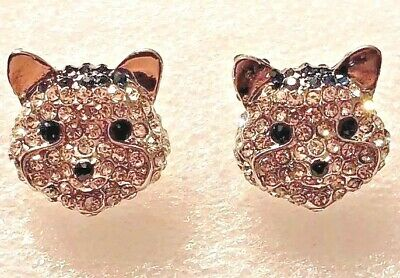 Husky Dog Crystal Covered Post Stud Earrings Jewelry