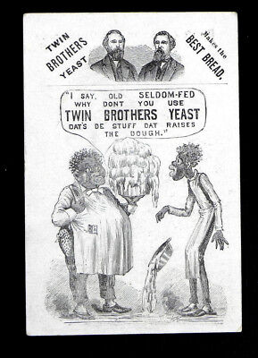 vintage Black Americana RACIST victorian trade card TWIN BROTHER'S YEAST bread