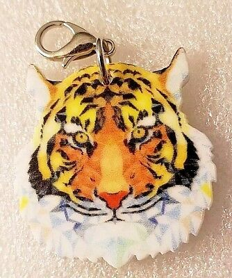 Tiger Head Acrylic Double-Sided Purse Charm Dangle Zipper Pull Jewelry