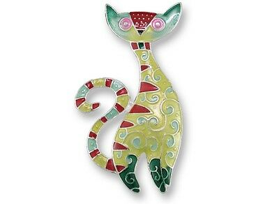 Cat Radiance Pin, Brooch - Whimscal & Colorful Hand Painted, retro, kitty