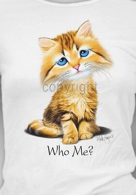 Who Me?  Cat Shirt, Kitten With Innocent Face, Big Blue Eyes, Sm - 5X,  Fancier