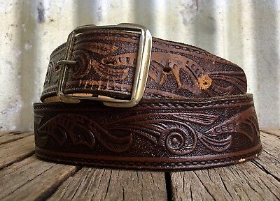 VINTAGE India TOOLED LEATHER BELT Metal Buckle BOHO Retro