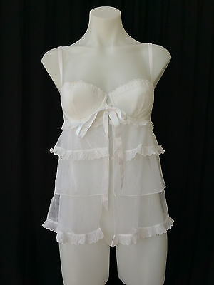 36B Victorias Secret I Do Bridal Lingerie Wedding mesh Baby Doll Bustier Slip