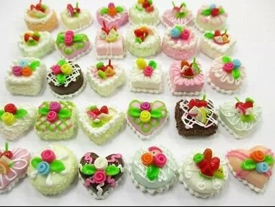 Miniature dolls house accessories Assorted HandCrafted Fruit& Flower Cakes 1:12t