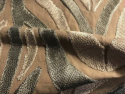 """Animal Print Taupe Linen Embroidery Fabric Remnant, 31""""X26"""""""