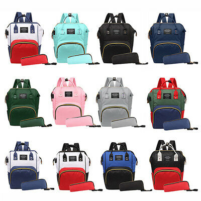 2pcs/set Maternity Mummy Baby Nappy Diaper Bag Nursing Backpack Handbag USB Port