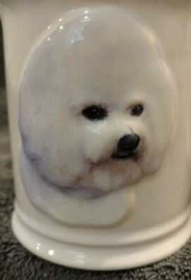NEW WITHOUT TAGS MINT XPres Bichon Frise 3D Dog Ceramic Stoneware Coffee Cup Mug