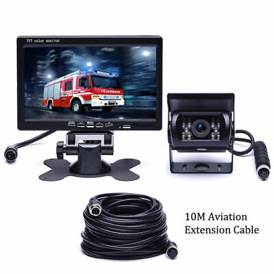 "7"" Rear View Monitor+RV Truck Bus Van Car IR Back Up Camera Night Vision System"