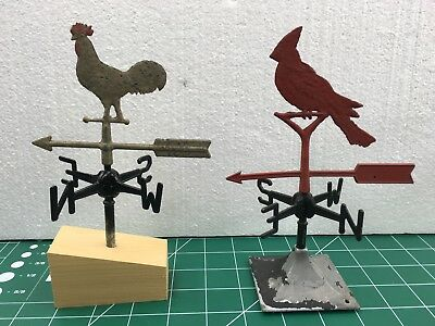 Rare Vintage Dollhouse Miniature Weathervane Collection Cardinal Chicken Cupola