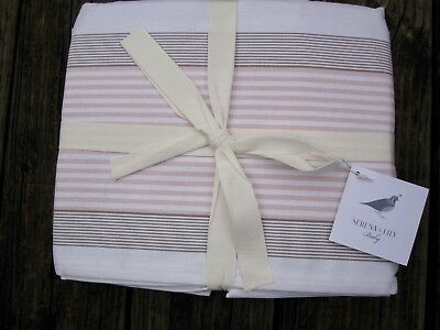 NEW SERENA and LILY Yach Stripe Crib Skirt HTF Coral Brown Cream Nautical USA