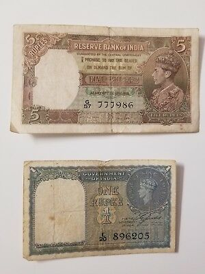 Reserve Bank of India British 5 Rupees 1937 -1 Rupee 1940 Taylor King George VI