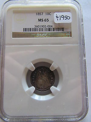 1857 Seated Liberty Dime NGC MS65 Toned Color 10 Cent Silver Coin