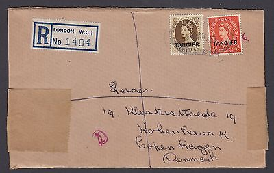 Morocco Tangier QEII stamps 1955 reg. wrapper sent from London (!!) to Denmark
