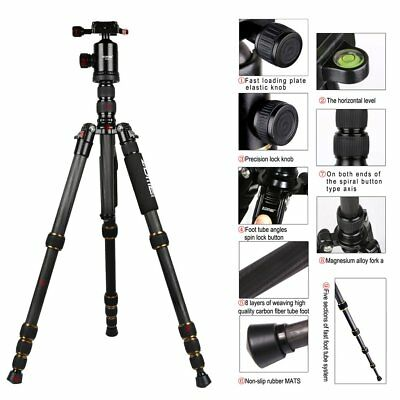 Zomei Z699C Carbon Fiber Travel Tripod 5 Sec Monopod w/ Detachable Ball Head QK