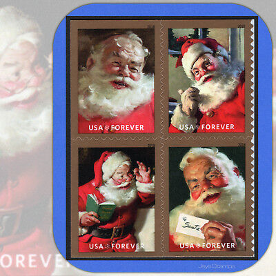 2018  SPARKLING HOLIDAYS Coca-Cola  SANTA  Mint  USPS Forever® Block of 4 Stamps