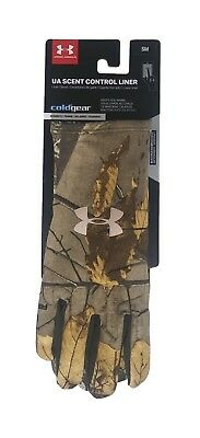 5d69c0cbb9b9f UNDER ARMOUR ColdGear Scent Control Liner Gloves sz S Small Realtree Xtra