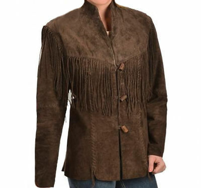Womens Chocolate Brown Suede Leather Western Coat Native American Fringes Jacket
